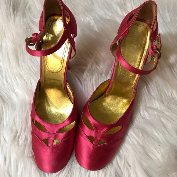 410e520d383 Miu Miu Cherry Satin Mary Jane Heels 37 1 2. M 5bcd02ce9fe486002dec39e8